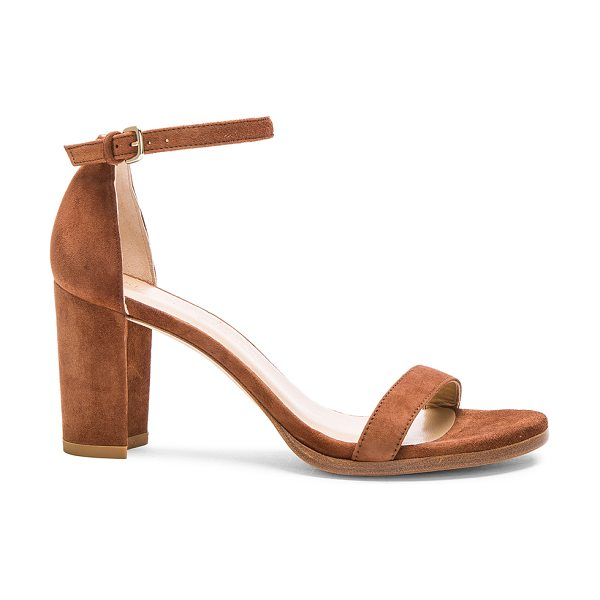 Stuart Weitzman Suede Nearly Nude Heel in brown - Suede upper with leather sole.  Made in Spain.  Approx...