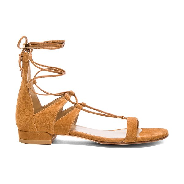 Stuart Weitzman Suede tie up sandals in neutrals - Suede upper with leather sole.  Made in Spain.  Approx...