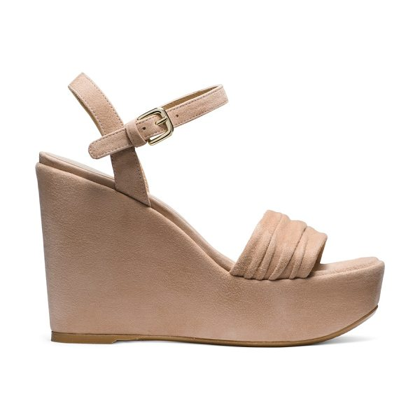 Stuart Weitzman Sundraped in bisque suede - Warm-weather wedges are made luxe via sumptuous suede,...