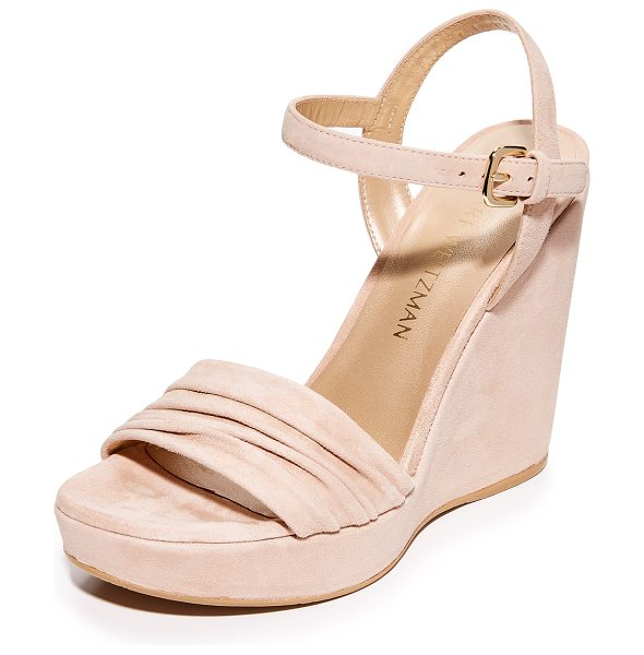 STUART WEITZMAN sundraped wedge in bisque - Soft gathers lend texture to these luxe, brushed suede...