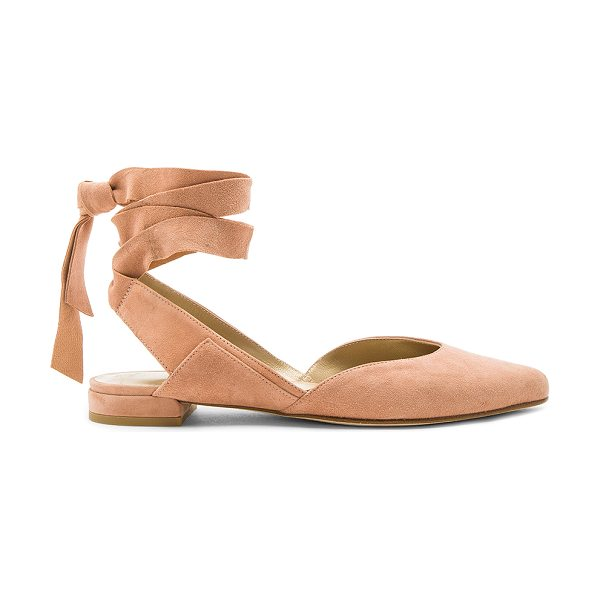Stuart Weitzman Supersonic Flat in naked suede - Suede upper with leather sole. Wrap ankle with tie...