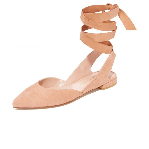 Stuart Weitzman supersonic wrap flats in naked - Panels of luxe suede lend a layered look to these...