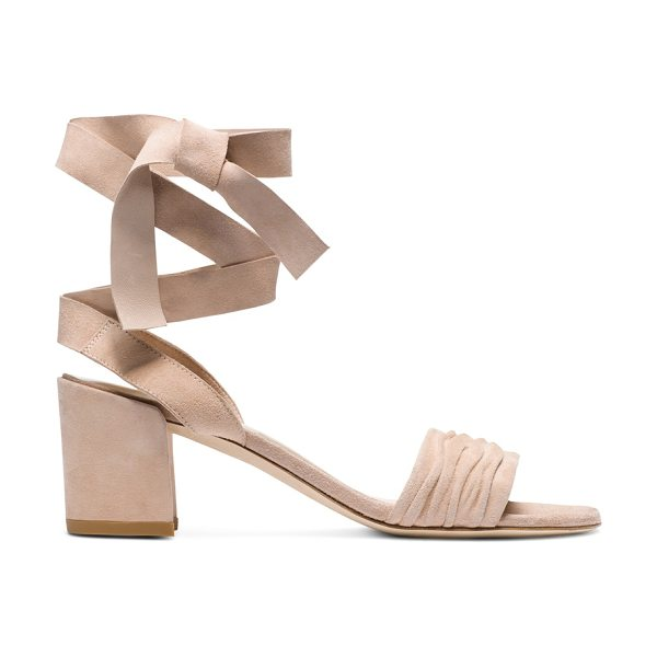 Stuart Weitzman Swifty in bisque suede - Bold block heels anchor these single-sole sandals, which...
