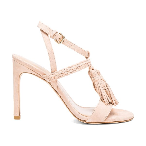 Stuart Weitzman Tassel heel in beige - Suede upper with leather sole. Wrap ankle strap with...