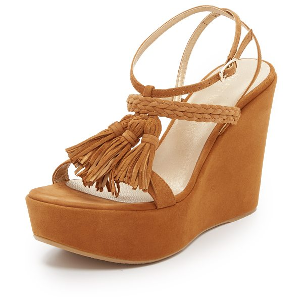 Stuart Weitzman Tassel mania wedge sandals in camel - Tonal tassels and braided straps accent these soft suede...