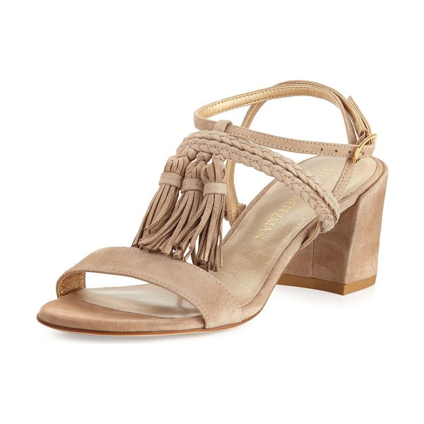 "Stuart Weitzman Tasselmania Suede City Sandal in sand - Stuart Weitzman suede city sandal. 2.5"" covered block..."