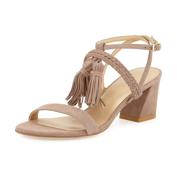 "Stuart Weitzman Tasselmania Suede City Sandal in mauve - Stuart Weitzman suede city sandal. 2.5"" covered block..."