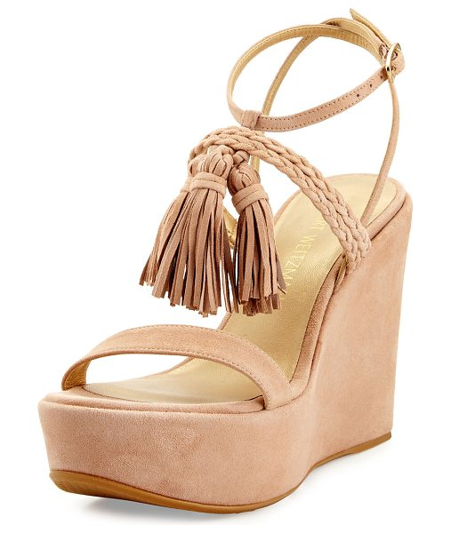 Stuart Weitzman Tasselmania Suede Wedge Sandal in medium beige