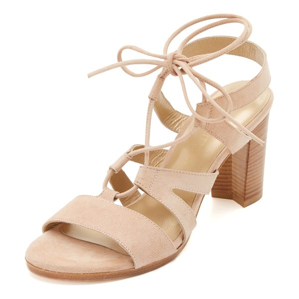 STUART WEITZMAN Tie girl bingo sandals in bisque - Refined, suede Stuart Weitzman sandals styled with slim...