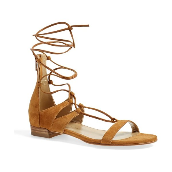 Stuart Weitzman tie-up sandal in tan suede - A chic gladiator-inspired flat sandal is shaped from...