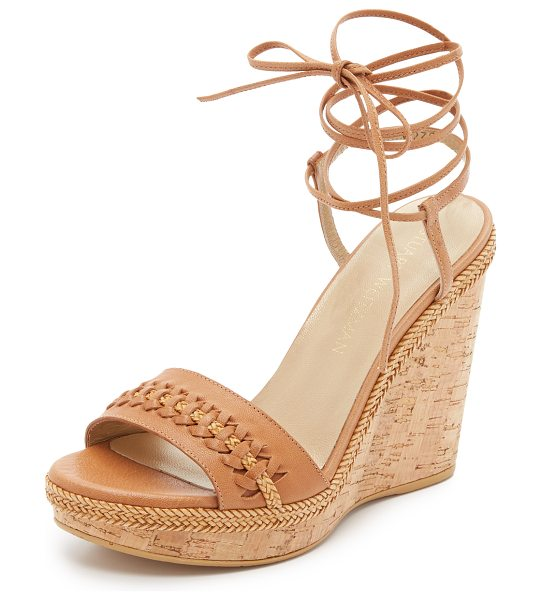 Stuart Weitzman Tiedover wedge sandals in camel - Woven leather strips detail the vamp and trim the...