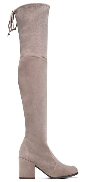 Stuart Weitzman Tieland in topo taupe suede - Designed for a flawless fit, the iconic over-the-knee...