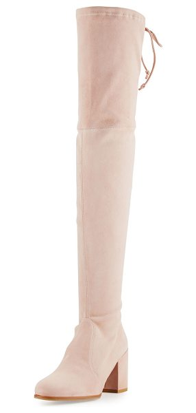 Stuart Weitzman Tieland Suede Over-the-Knee Boot in rose - Stuart Weitzman suede over-the-knee boot. Available in...