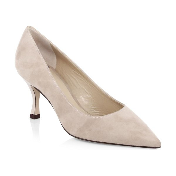 Stuart Weitzman tippi suede pumps in natural - Suede pumps crafted in a minimalist design. Self-covered...