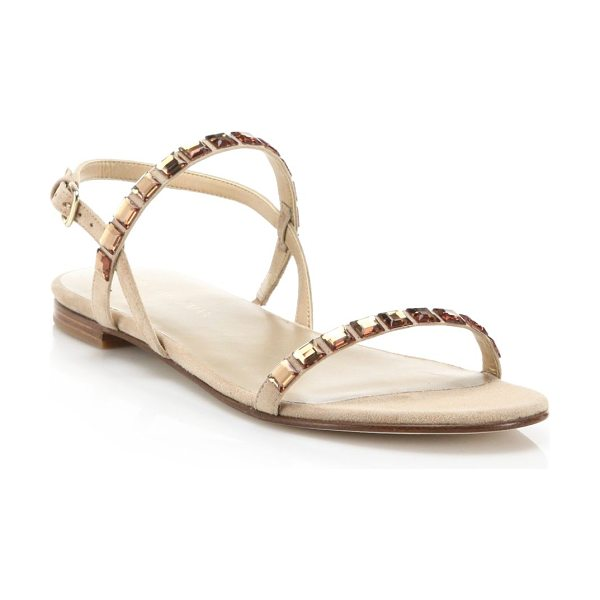 Stuart Weitzman trailmix jeweled suede flat sandals in beach - Tonal jewels dress up minimalist suede sandal. Suede...