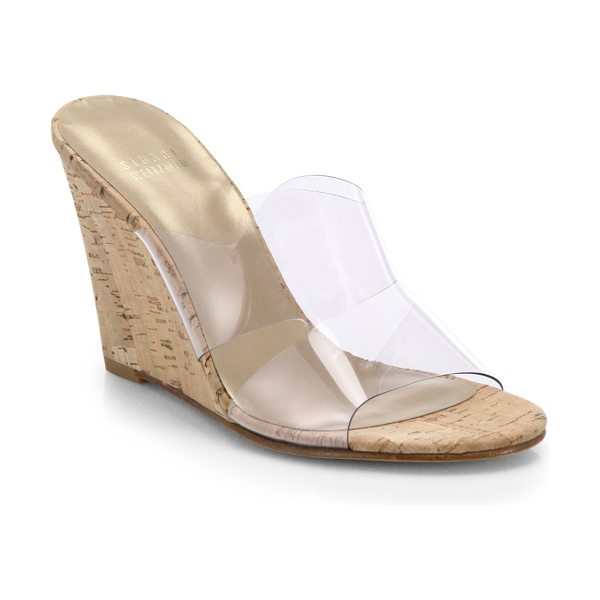 Stuart Weitzman Translucent & cork wedge mule sandals in beige - These classically chic cork wedge mules get a...