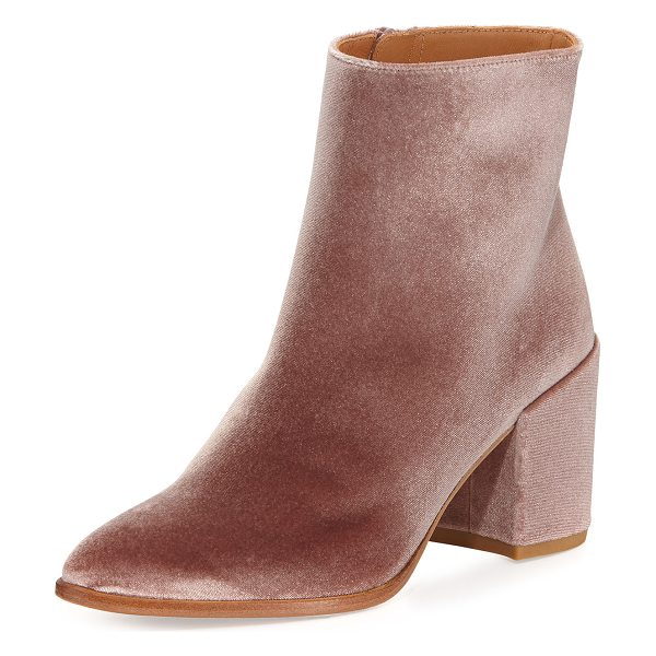 Stuart Weitzman Trendy Velvet Zip Booties in candy - EXCLUSIVELY AT NEIMAN MARCUS Stuart Weitzman velvet...