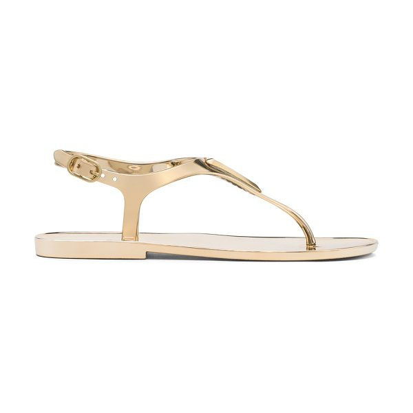 Stuart Weitzman Trifecta in gold jelly - Step into these jazzed-up jelly sandals for easy, breezy...
