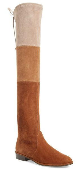 Stuart Weitzman 'trio' over the knee boot in walnut suede - Stretchy color-blocked suede defines a tall statement...