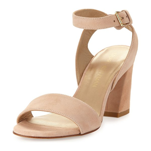 "Stuart Weitzman True Suede City Sandal in bisque - Stuart Weitzman suede city sandal. 3.3"" covered block..."