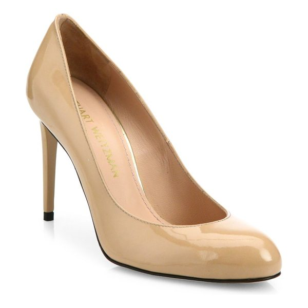 STUART WEITZMAN tune patent leather pumps in nude - Classic patent leather pump with low-cut topline....