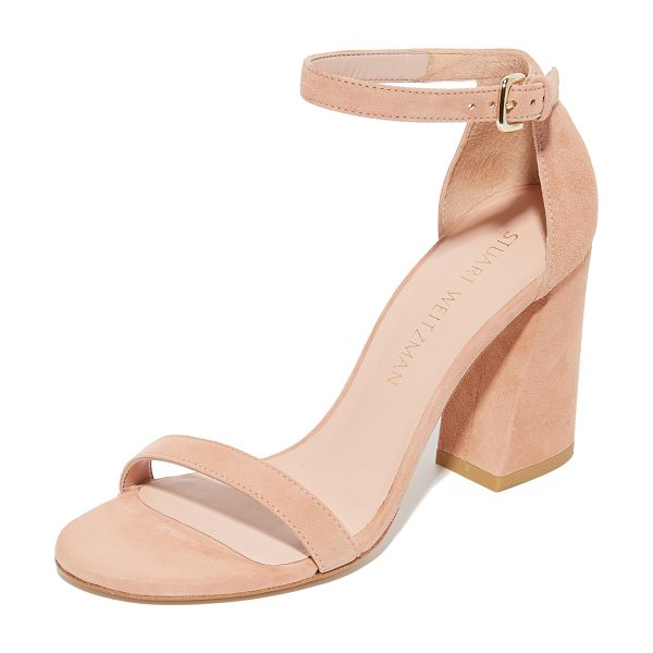 Stuart Weitzman walkway sandals in naked - A geometric, covered heel adds sturdy lift to these...
