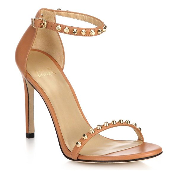 Stuart Weitzman Whatastud nudistsong leather sandals in tan