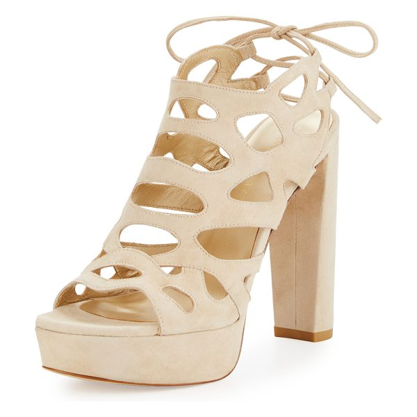 Stuart Weitzman Wildcat Laser-Cut Suede Sandal in beach suede - Stuart Weitzman laser-cut suede sandal. Available in...