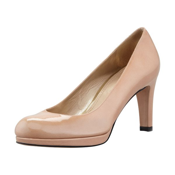 """Stuart Weitzman Blog patent mid-heel pump in adobe - Patent leather with tonal topstitching. 3 1/4"""" covered..."""