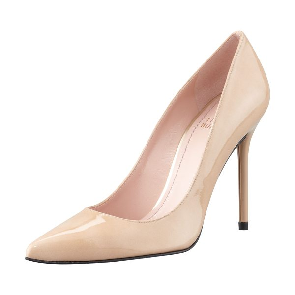 Stuart Weitzman Nouveau patent point-toe pump in adobe - Aniline-dyed patent leather upper. Tonal topstitching...