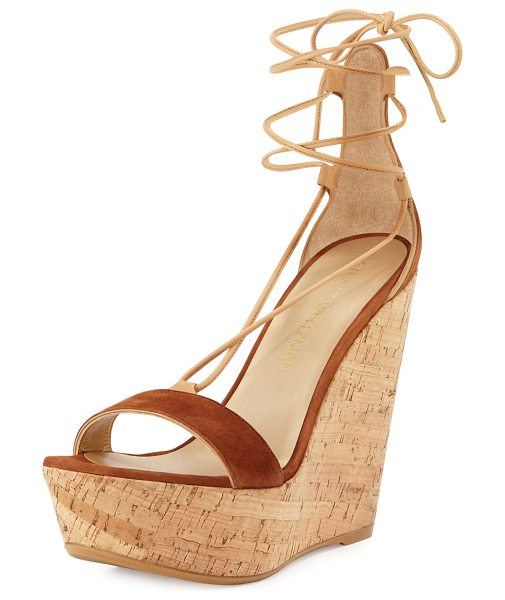 Stuart Weitzman Wrap It Suede Lace-Up Wedge Sandal in saddle