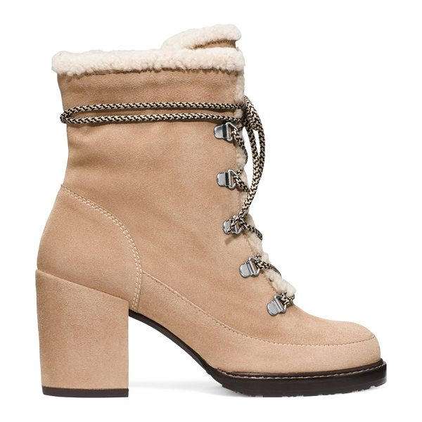 Stuart Weitzman Yukon in mojave beige suede - Hiking boots go haute via the YUKON block heel booties....