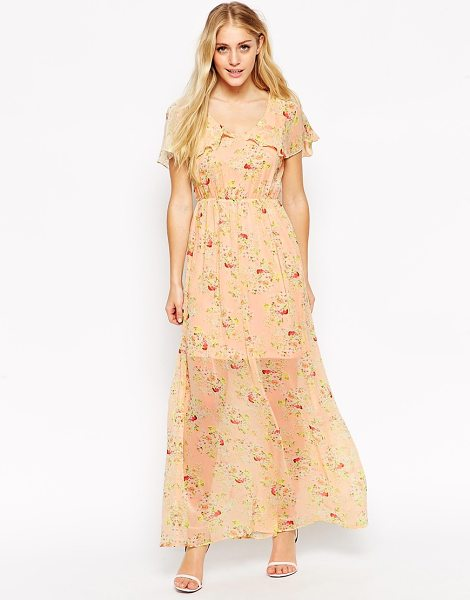 Style London Ditsy maxi dress with cape detail in peach - Evening dress by Style London Semi-sheer, lightweight...