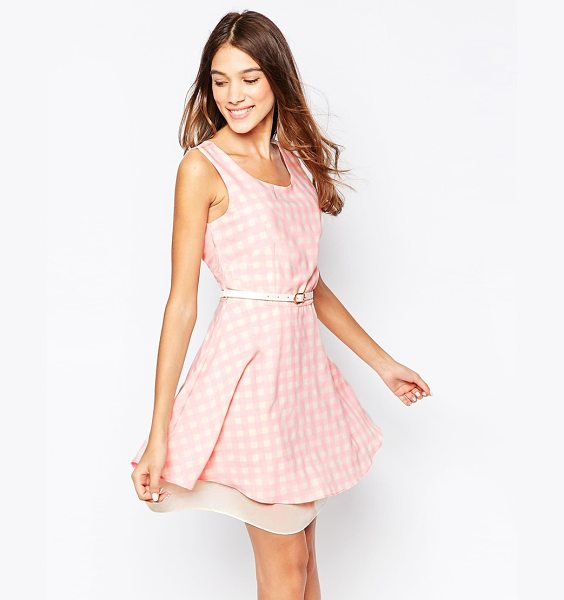 Style London Skater dress in gingham print with belt in pink - Casual dress by Style London Lightweight woven fabric...