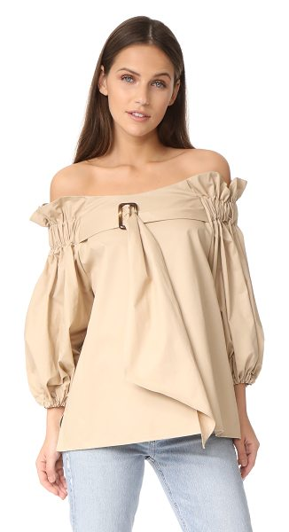 Style Mafia belted blouse in beige - A crisp cotton Style Mafia blouse, styled with gathered...