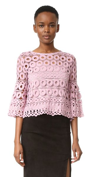 Style Mafia kiana top in pink - A Style Mafia crop top in intricate crochet. Flared 3/4...