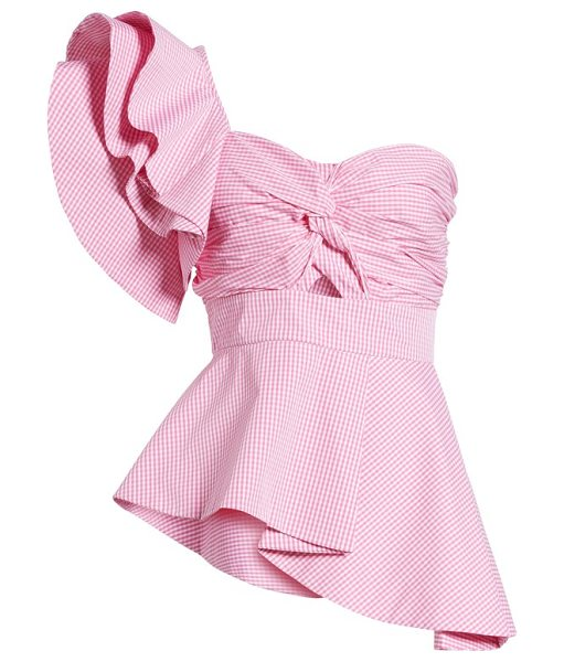STYLEKEEPERS private cruise one-shoulder top in checked pink - Chic asymmetry defines this playfully ruffled blouse...