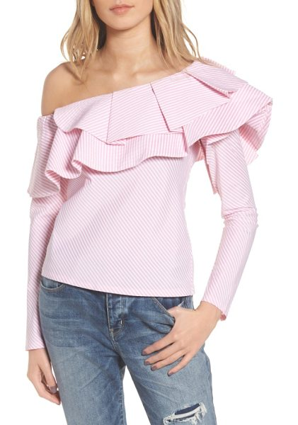 STYLEKEEPERS think fashion one-shoulder top in pinstriped pink - A playful mix of stripes and ruffles updates this...