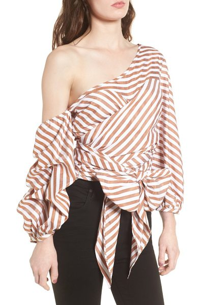 STYLEKEEPERS wrap me in love one-shoulder top - A playful mix of stripes and ruffles updates this...