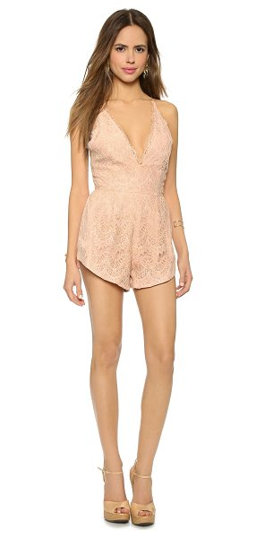 Style Stalker Mermaid lace romper in nude - A patterned lace STYLESTALKER romper, designed with a...