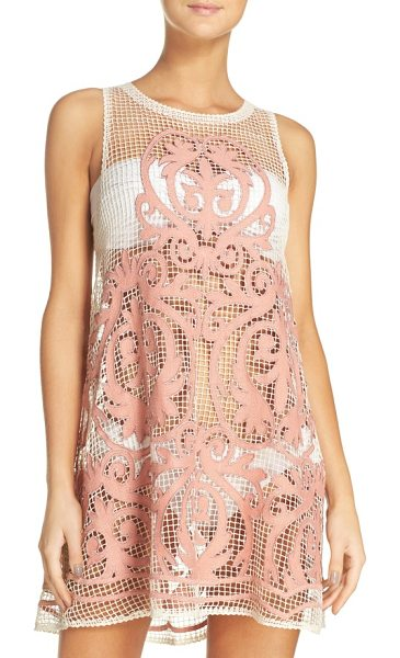 Suboo nostalgia cover-up dress in blush - Show off your swimsuit in this sheer mesh dress...