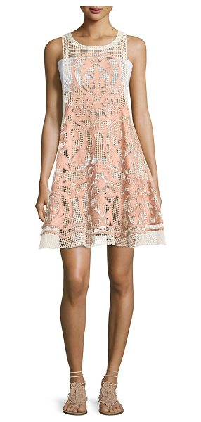 "Suboo Nostalgia Embroidered Mesh Dress in pink - Suboo ""Nostalgia"" embroidered mesh dress. High jewel..."