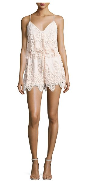 "Suboo Prairie Broderie Anglaise Playsuit in peach - Suboo ""Prairie"" camisole-style romper in broderie..."