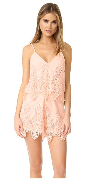 Suboo prairie romper in peach - This lightweight Suboo cover-up romper is detailed with...