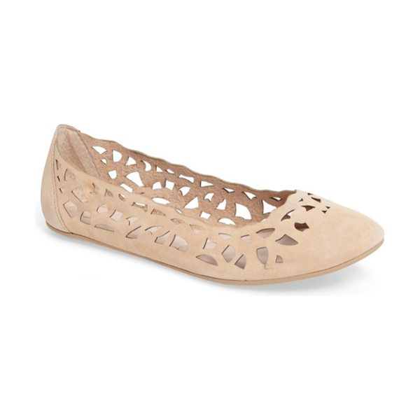 Sudini sonya perforated flat in nude leather - Perforated patterning brings a latticework of beautiful...