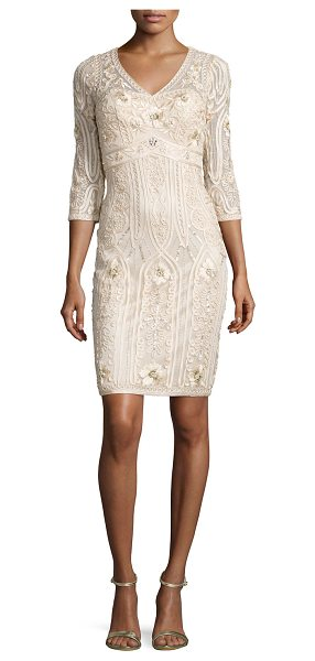 Sue Wong 3/4-Sleeve Embroidered Sheath Dress in champagne - Sue Wong embroidered dress accented with sequins....