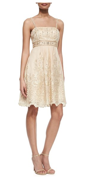 Sue Wong Beaded bodice embroidered dress in champagne - Sue Wong dress with beaded bodice with metallic...