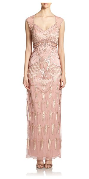 Sue Wong Beaded empire column gown in sandalwood - Sequins, beads, jewels and embroidery arrange as...