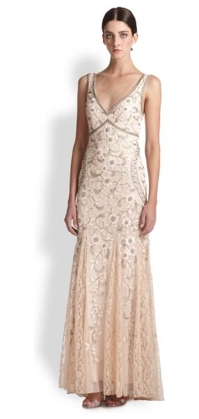 Sue Wong Beaded & floral embroidered tulle gown in blush - Beaded v-neck dress with intricate floral...
