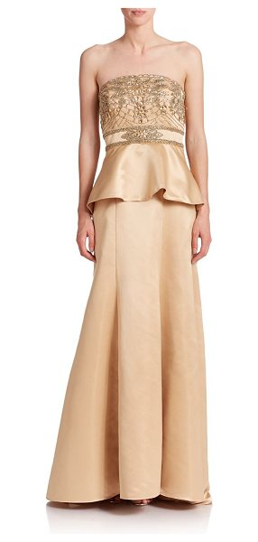 Sue Wong Beaded peplum gown in gold - Crafted from sleek satin, an elegant peplum gown...